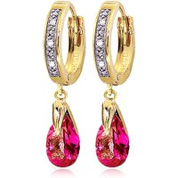Pink Topaz & Diamond Droplet Huggie Earrings in 9ct Gold - Jewellery Gifts