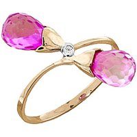 Pink Topaz and Diamond Duo Ring in 9ct Gold