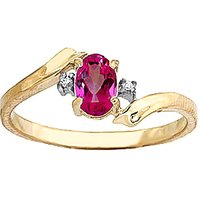 Pink Topaz and Diamond Embrace Ring in 9ct Gold