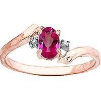 Pink Topaz & Diamond Embrace Ring in 9ct Rose Gold - Diamond Gifts