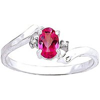 Pink Topaz and Diamond Embrace Ring in 9ct White Gold