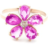 Pink Topaz & Diamond Five Petal Ring in 18ct Rose Gold - Pink Gifts