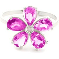 Pink Topaz & Diamond Five Petal Ring in Sterling Silver - Pink Gifts