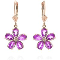 Pink Topaz & Diamond Flower Petal Drop Earrings in 9ct Rose Gold - Pink Gifts