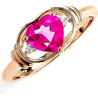 Pink Topaz & Diamond Halo Heart Ring in 9ct Gold - Halo Gifts