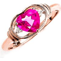 Pink Topaz & Diamond Halo Heart Ring in 18ct Rose Gold - Pink Gifts