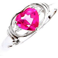 Pink Topaz and Diamond Halo Heart Ring in 9ct White Gold
