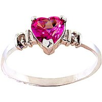 Pink Topaz & Diamond Heart Ring in 9ct Rose Gold - Diamond Gifts