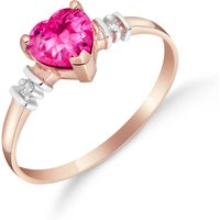 Pink Topaz & Diamond Heart Ring in 18ct Rose Gold - Pink Gifts