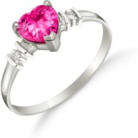 Pink Topaz & Diamond Heart Ring in Sterling Silver - Pink Gifts