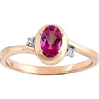 Pink Topaz & Diamond Meridian Ring in 9ct Rose Gold - Diamond Gifts