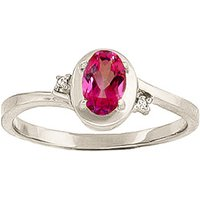Pink Topaz and Diamond Meridian Ring in 9ct White Gold