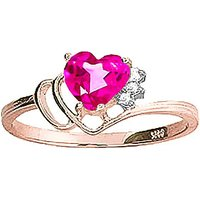 Pink Topaz & Diamond Passion Ring in 18ct Rose Gold - Pink Gifts