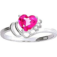 Pink Topaz & Diamond Passion Ring in Sterling Silver - Pink Gifts