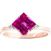 Pink Topaz & Diamond Princess Ring in 9ct Rose Gold - Diamond Gifts