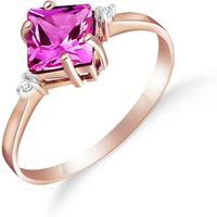 Pink Topaz & Diamond Princess Ring in 18ct Rose Gold - Pink Gifts