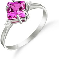 Pink Topaz & Diamond Princess Ring in Sterling Silver - Pink Gifts