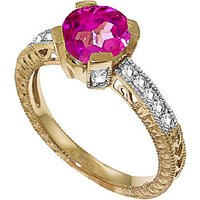 Pink Topaz & Diamond Renaissance Ring in 9ct Gold - Fantasy Gifts