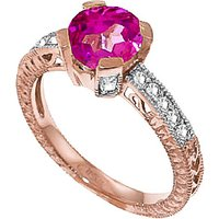 Pink Topaz & Diamond Renaissance Ring in 18ct Rose Gold - Pink Gifts