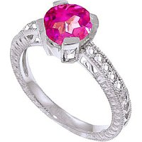 Pink Topaz & Diamond Renaissance Ring in 9ct White Gold - Fantasy Gifts