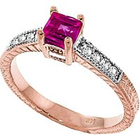 Pink Topaz & Diamond Shoulder Set Ring in 9ct Rose Gold - Diamond Gifts