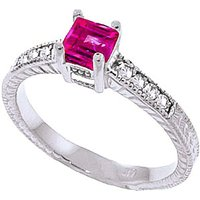 Pink Topaz & Diamond Shoulder Set Ring in Sterling Silver - Pink Gifts