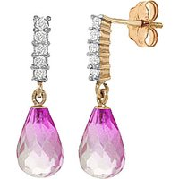 Pink Topaz & Diamond Stem Droplet Earrings in 9ct Gold - Jewellery Gifts