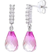 Pink Topaz & Diamond Stem Droplet Earrings in 9ct White Gold - Pink Gifts
