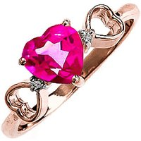 Pink Topaz & Diamond Trinity Ring in 9ct Rose Gold - Diamond Gifts