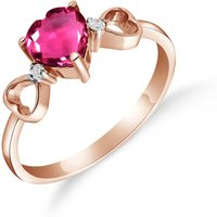 Pink Topaz & Diamond Trinity Ring in 18ct Rose Gold - Pink Gifts