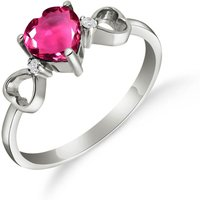 Pink Topaz & Diamond Trinity Ring in Sterling Silver - Pink Gifts