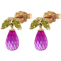 Pink Topaz & Peridot Snowdrop Stud Earrings in 9ct Gold - Pink Gifts