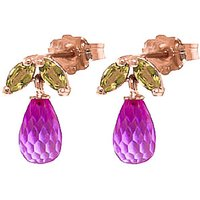 Pink Topaz & Peridot Snowdrop Stud Earrings in 9ct Rose Gold - Pink Gifts