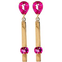Pink Topaz Bar Drop Earrings 4.25 ctw in 9ct Gold - Pink Gifts