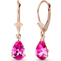 Pink Topaz Belle Drop Earrings 2.85 ctw in 9ct Rose Gold - Pink Gifts