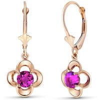 Pink Topaz Corona Drop Earrings 1.1 ctw in 9ct Rose Gold - Pink Gifts
