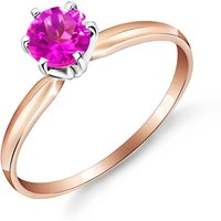 Pink Topaz Crown Solitaire Ring 0.65 ct in 18ct Rose Gold - Pink Gifts