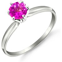 Pink Topaz Crown Solitaire Ring 0.65 ct in Sterling Silver - Pink Gifts
