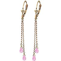 Pink Topaz Demi Chain Drop Earrings 2.5 ctw in 9ct Gold - Pink Gifts