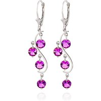 Pink Topaz Dream Catcher Drop Earrings 4.95 ctw in 9ct White Gold - Pink Gifts