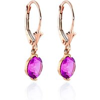 Pink Topaz Drop Earrings 3.1 ctw in 9ct Rose Gold - Pink Gifts