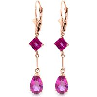 Pink Topaz Drop Earrings 4.95 ctw in 9ct Rose Gold - Pink Gifts