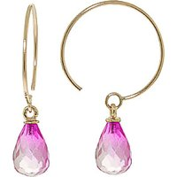 Pink Topaz Eclipse Circle Wire Earrings 1.35 ctw in 9ct Gold - Jewellery Gifts