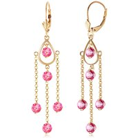 Pink Topaz Faro Drop Earrings 3 ctw in 9ct Gold - Jewellery Gifts