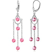 Pink Topaz Faro Drop Earrings 3 ctw in 9ct White Gold - Pink Gifts