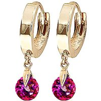 Pink Topaz Huggie Drop Earrings 2 ctw in 9ct Gold - Jewellery Gifts