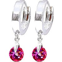Pink Topaz Huggie Drop Earrings 2 ctw in 9ct White Gold - Pink Gifts