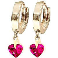 Pink Topaz Lovestruck Heart Earrings 1.5 ctw in 9ct Gold - Jewellery Gifts