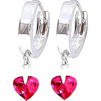Pink Topaz Lovestruck Heart Earrings 1.5 ctw in 9ct White Gold - Pink Gifts