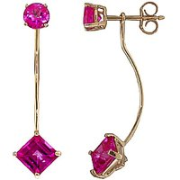 Pink Topaz Lure Drop Earrings 4.15 ctw in 9ct Gold - Pink Gifts